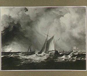 Scheepvaart bij een frisse bries met rechts op de achtergrond mogelijk fort Rammekens
