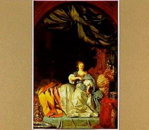 Een elegante vrouw in haar slaapvertrek (Batseba?)
