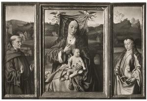 De H. Franciscus (links), Maria met kind (midden), de H. Agnes (rechts)