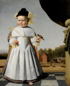 Portret van een twee-jarige jongen met een appel en een vink