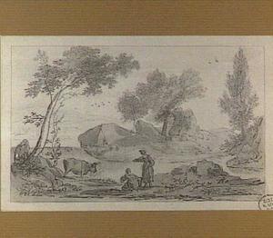 Italianiserend heuvellandschap met wasvrouwen bij een beek