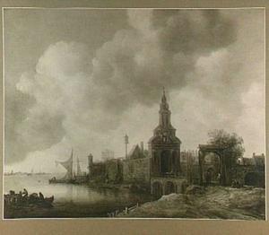 Rivierlandschap met rechts de Haarlemmer Poort te Amsterdam