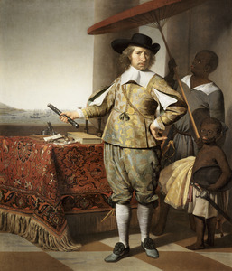 Portret van Wollebrand Geleynsz de Jongh (1594-1674), met een bediende en een kind