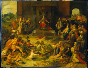 Allegorie op de troonsafstand van keizer Karel V te Brussel, 25 oktober 1555