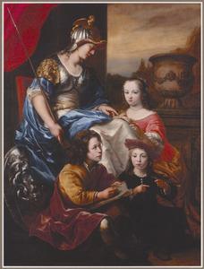 Minerva drie kinderen onderwijzend: allegorisch portret van een vrouw met drie kinderen