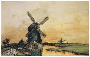 Polderlandschap met windmolens in Holland