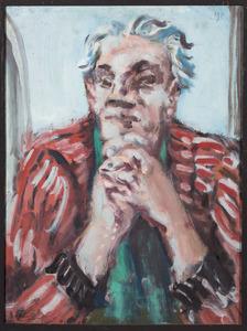 Zelfportret Fiedler met gevouwen handen