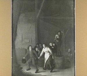 Dansende boeren in een interieur