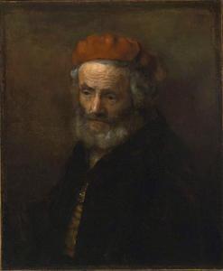 Borststuk van een oude man met rode baret