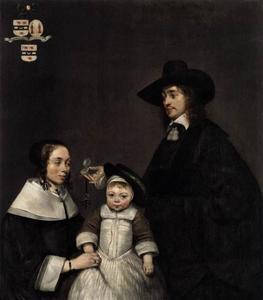 Portret van Hartogh van Moerkerken (1622-1694), Sibille Nijkerken (1625-1665) en Philippus van Moerkerken (1652-1688)
