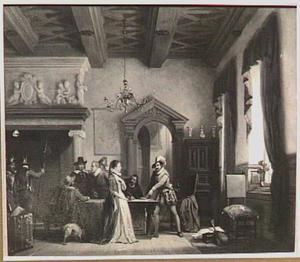 Maria van Kalslagen redt drie samengezworenen van de Prins van Oranje, die zich verborgen ten huize van griffier Martini