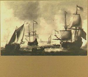Driemaster, fluitschip en andere vaartuigen op de Maas bij Dordrecht
