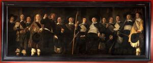 Officieren en vaandeldragers van de Jonge Schutterij te Alkmaar