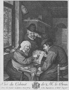 Boeren lezend in een interieur
