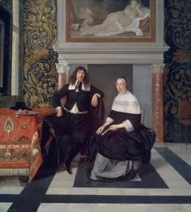 Dubbelportret van een man en zijn vrouw