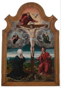 De kruisiging met Margaretha van Oostenrijk als Caritas en Isabella van Oostenrijk als Justitia