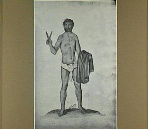 Schaars geklede Engelsman met schaar en mantel