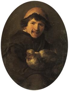 Boerenjongen met een kip