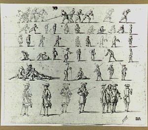 Studie van soldaten en andere figuren
