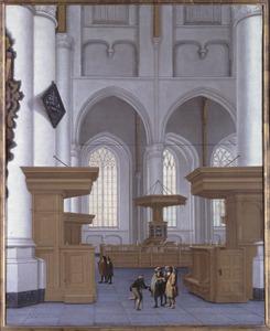 Interieur van de Laurenskerk in Rotterdam gezien naar het zuiden