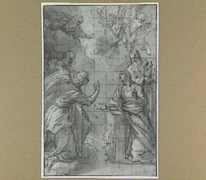 De annunciatie; links de H. Petrus, rechts de H. Paulus