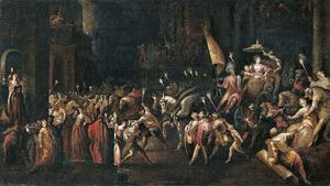 De intocht van de koningin van Seba in Jeruzalem (1 Koningen 10:1-3; 2 Kronieken 9:1-2)