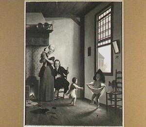 Interieur met familie met dansende kinderen