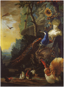 Pauw, kalkoen en ander pluimvee in landschap met omgevallen vaas, marmeren vrouwenbuste en stenen fontein