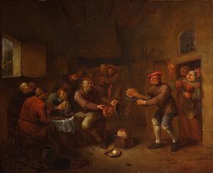 Volk met vlees komt een schamele herberg binnen, waar wordt gebeden bij een schaal mosselen