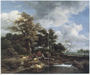 Boslandschap met herders en schapen bij een waterval
