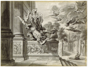 De muzen ontkomen aan Pyreneus door in duiven te veranderen (Metamorfosen)