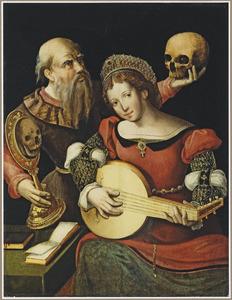 Vanitas met luitspelende vrouw en man met schedel en spiegel