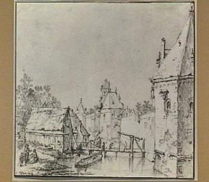 De stadswal van Utrecht gezien vanuit het noordwesten met, rechts waltoren De Leeuw en verder naar achteren waltoren De Beer, de Plompetoren en waltoren De Vos; links het Begijnebolwerk