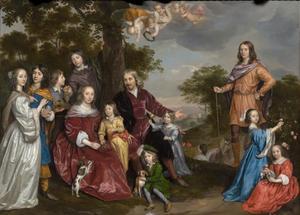 Portret van Willem van den Kerckhoven (....-1681), Rijnsburch de Jonge (1609-1679) en hun kinderen, met een bediende