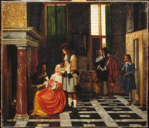 Kaartspelers in een gedecoreerd interieur