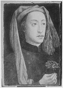 Portret van een jonge man met rode roos