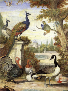 Pauwen en andere vogels in een parklandschap, op de achtegrond een buitenhuis