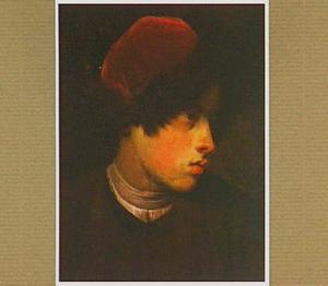 Portretkop van een jongeman met een bont afgezette muts