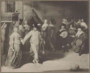 Elegant hofmakend, dansend en musicerenc gezelschap in een interieur