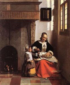 Appelschillende vrouw en een klein kind