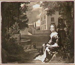 Portret van een onbekende vrouw. met een bediende