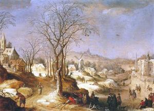 Winters landschap met ijsvermaak