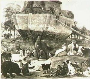 De dieren schepen zich in op de ark van Noach (Genesis 6:14-16)