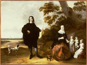 Familieportret van Lambert van Kuijk (1623-1689)  en Maria Laurensdr. Ramp (....-1676) en hun kinderen