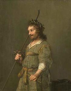 Herder met krans op het hoofd en fluit in de hand