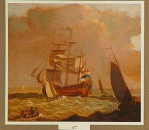 Een driemaster gaande op woelige zee
