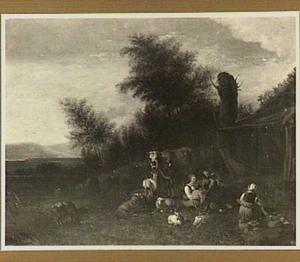 Landschap met boeren aan de maaltijd bij hun dieren