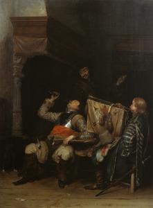 Drinkende, rokende en musicerende soldaten in een interieur