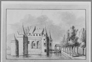 Linkerzijde van het kasteel van Gouda (ook wel Ter Gouw) voor de sloop in 1577