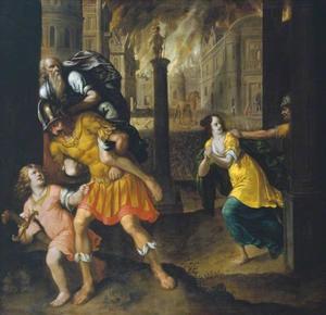 Aeneas ontvlucht met zijn familie het brandede Troje